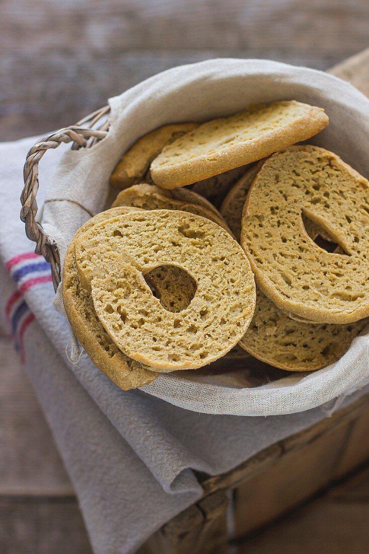 Friselle in a bread basket (Italy)