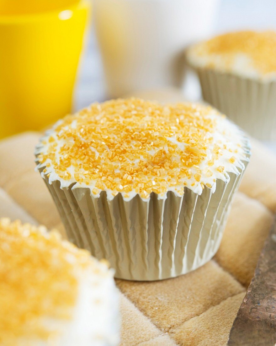 Cupcakes with buttercream and brown sugar