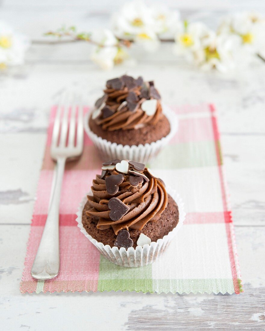 Chocolate cupcakes decorated with hearts