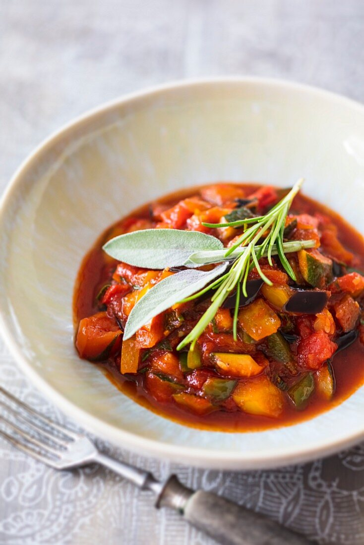 Ratatouille with aubergines, courgettes and peppers