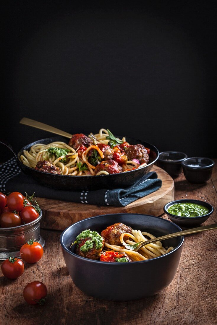 Pork and Fennel Meatballs with Spaghetti, Roast Tomato Sauce and Pesto