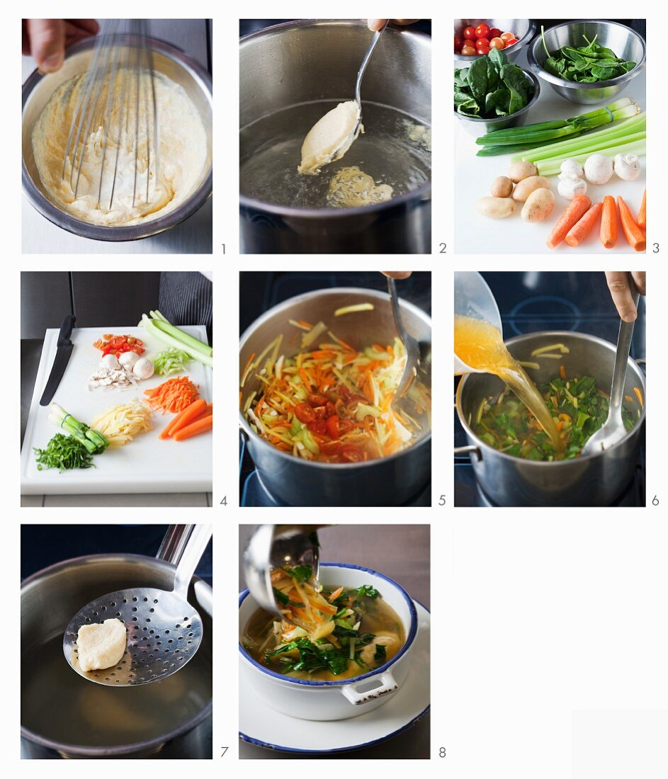 How to make bouillon with vegetables and dumplings