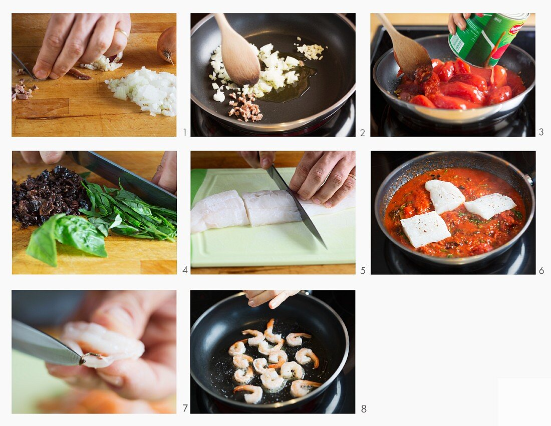 How to make cod with prawns in tomato sauce