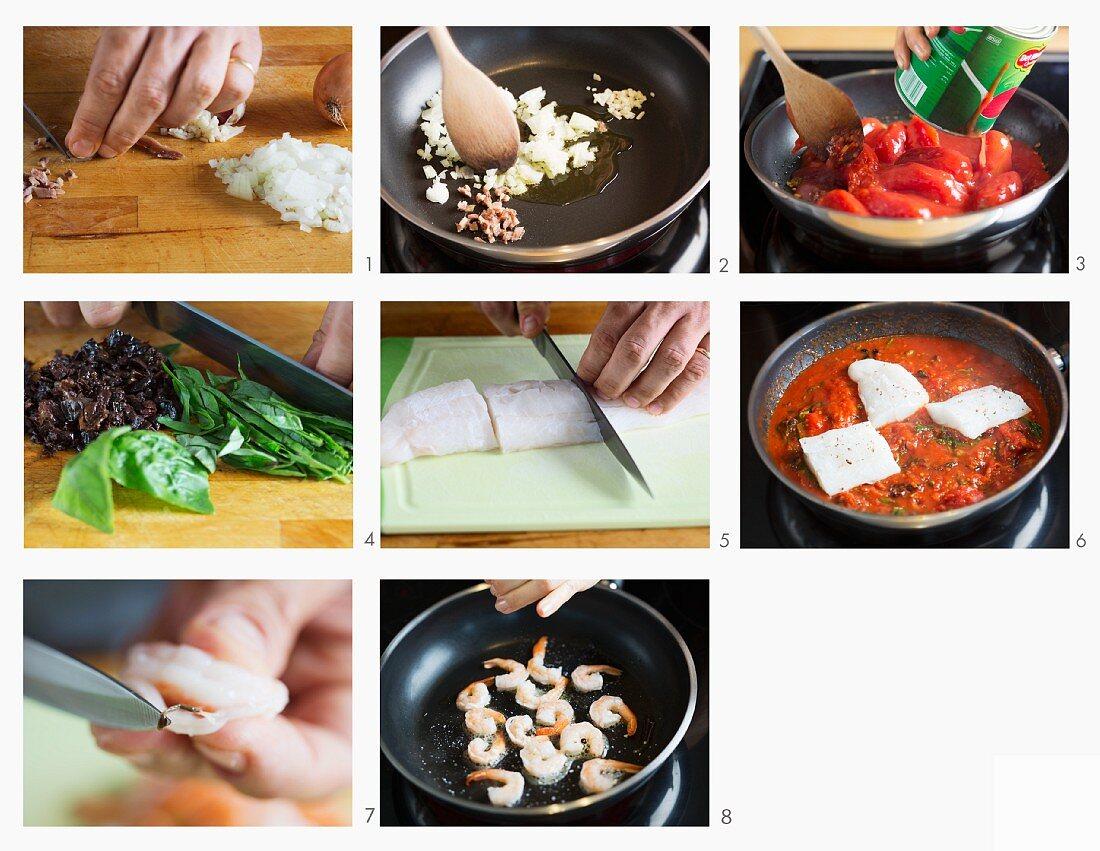 Kabeljau mit Shrimps in Tomatensauce zubereiten