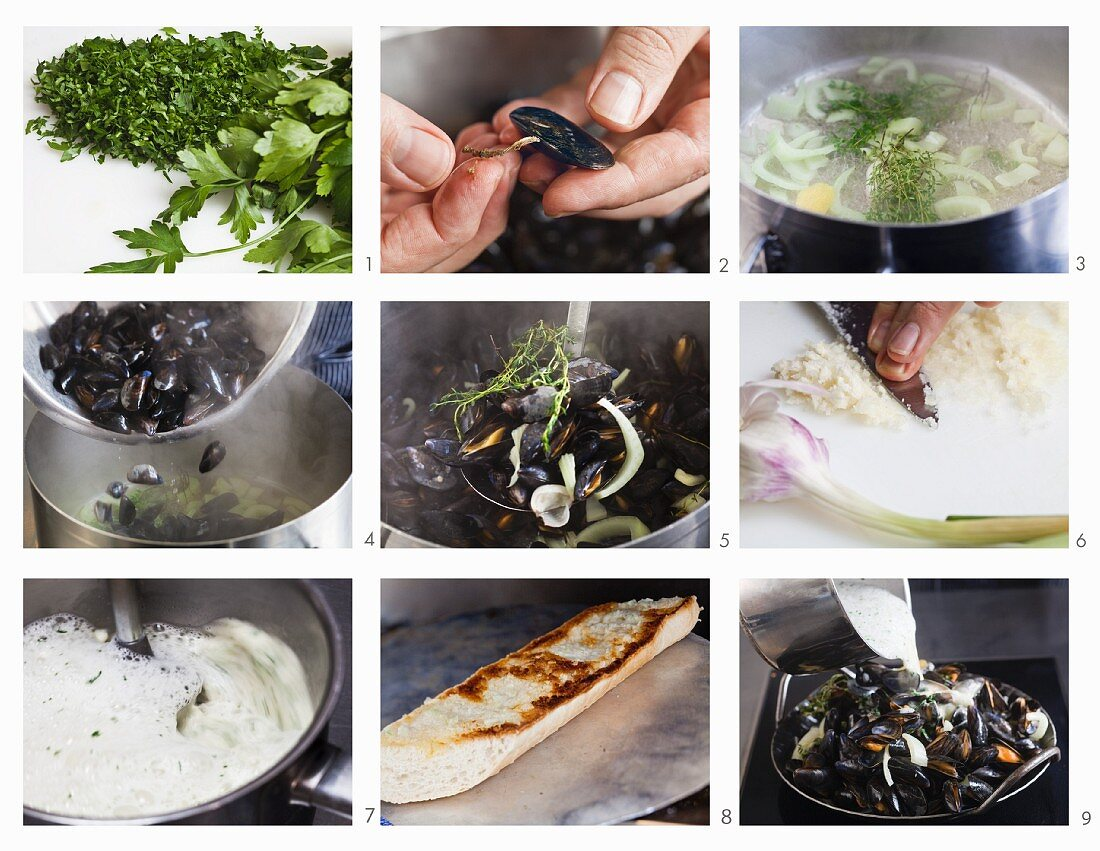 How to make steamed mussels in garlic sauce