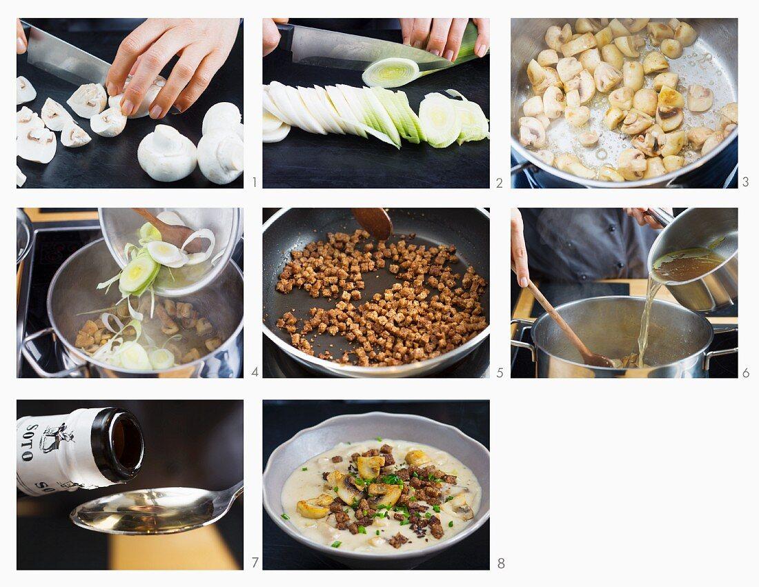 Champignoncremesuppe mit Lauch zubereiten