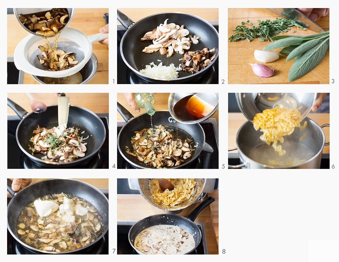 How to make farfalle with mushrooms and sage