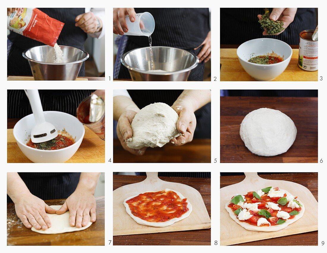 Pizza Margherita being made