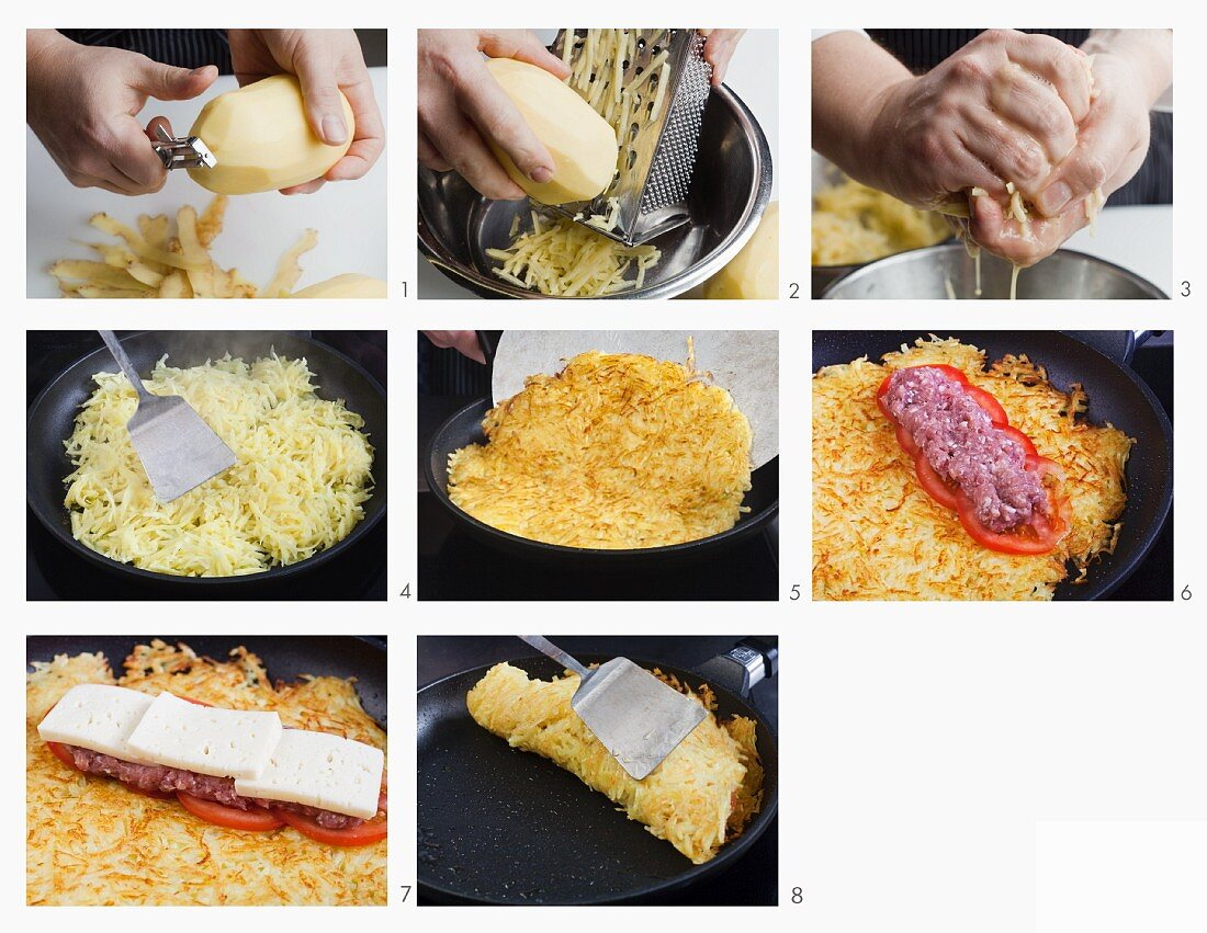 How to make a potato rosti filled with minced beef, cheese and tomatoes