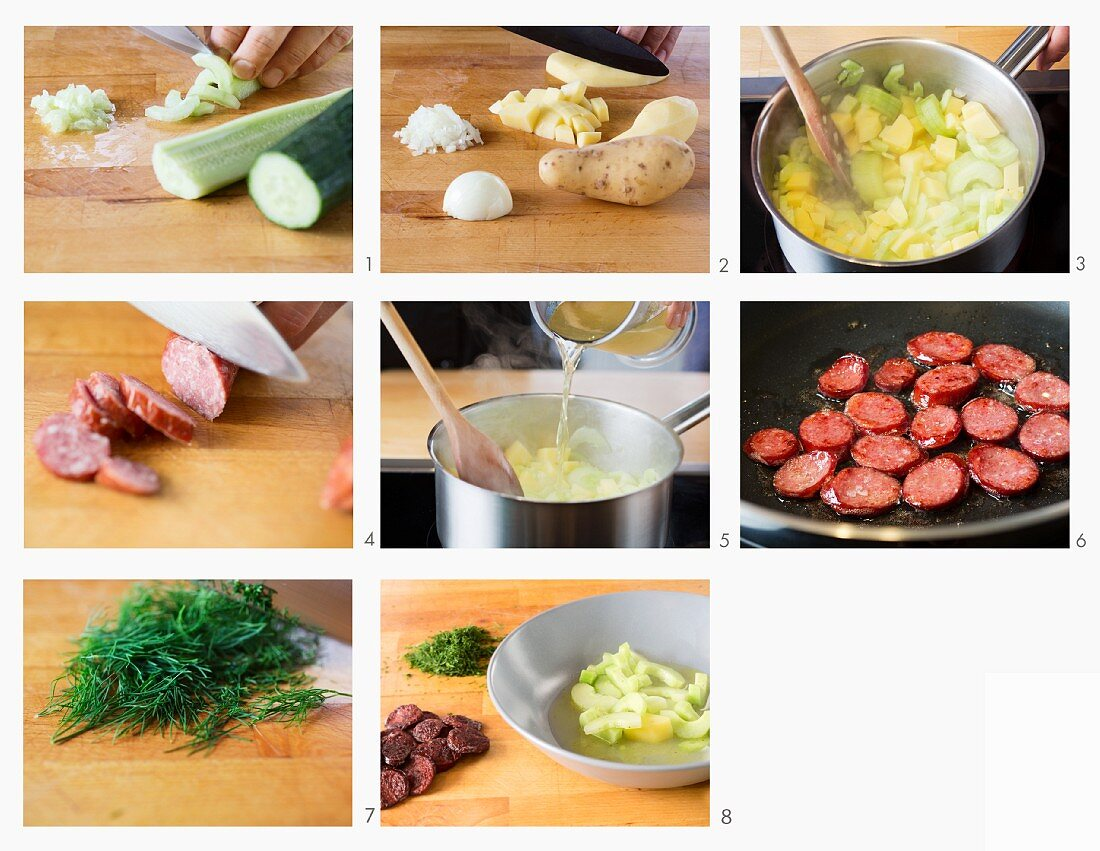 How to make stewed cucumber soup with sausage