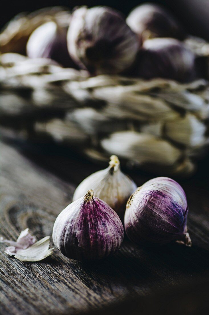 Garlic on a wooden surface