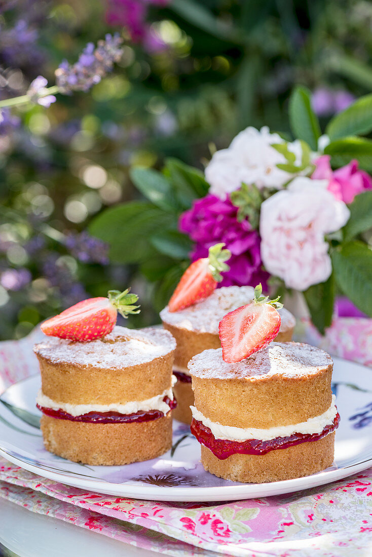 Mini victoria sponge cakes with strawberries and rose water