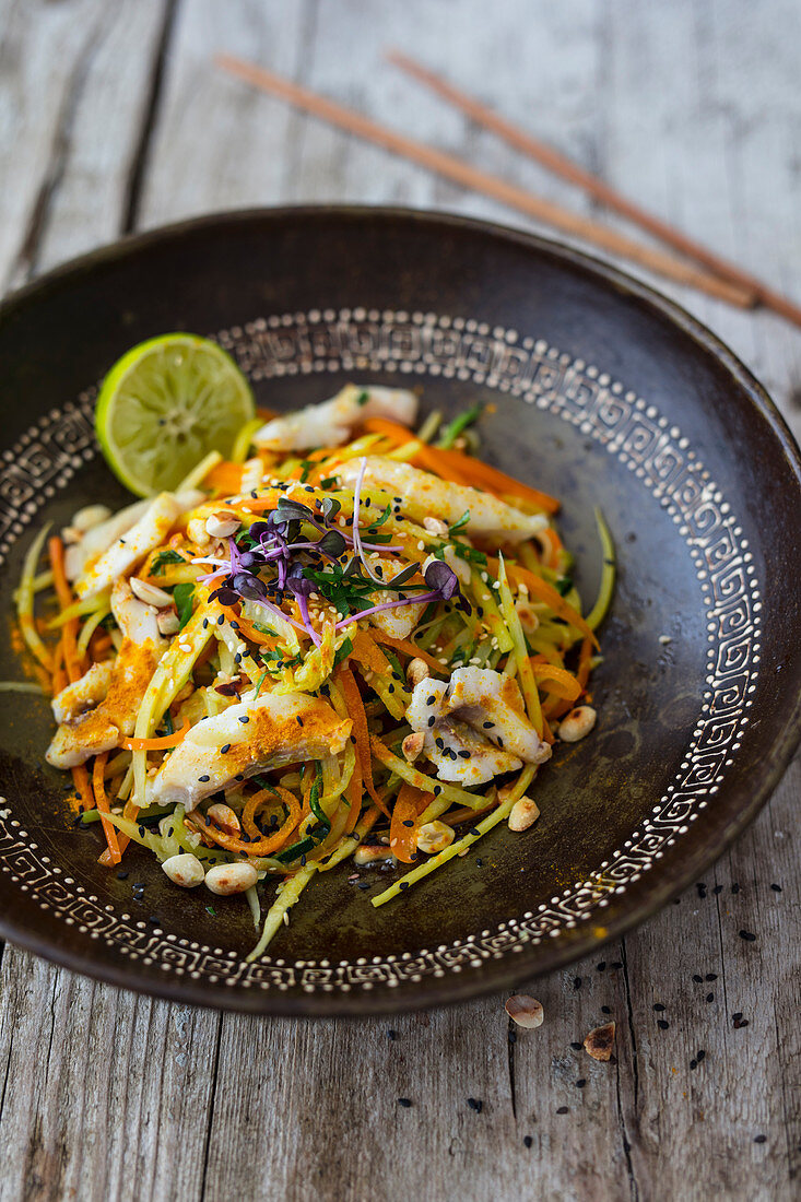 Pad Thai with fish and vegetable noodles