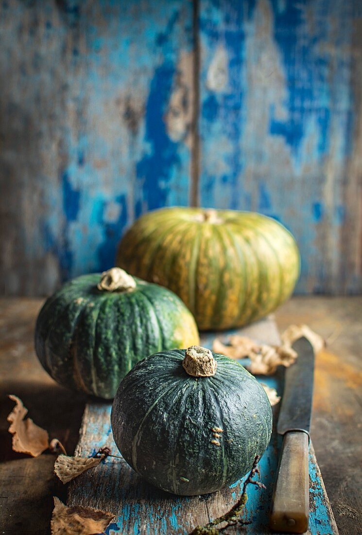 Three pumpkins with autumn leaves