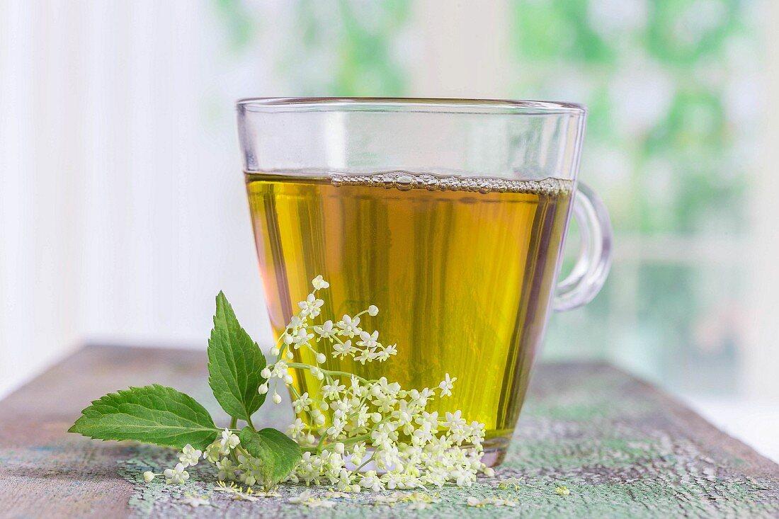 Elderflower tea and fresh elderflowers