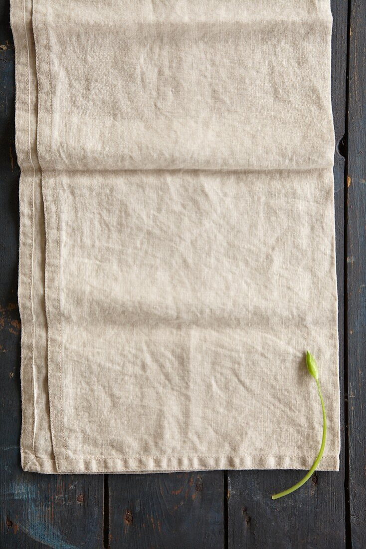 A wild garlic flower on a linen cloth (seen from above)