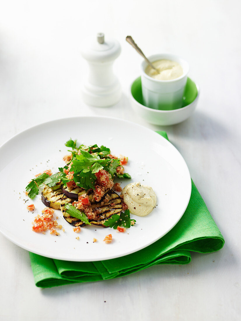 Eggplant and Tabbouleh Stacks with Chickpea Puree