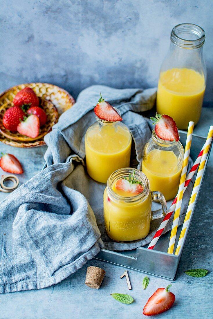 Orange juice and strawberries