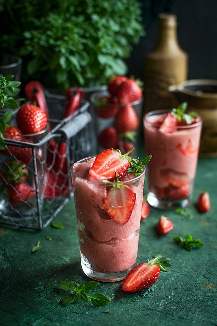 Strawberry sorbet with basil