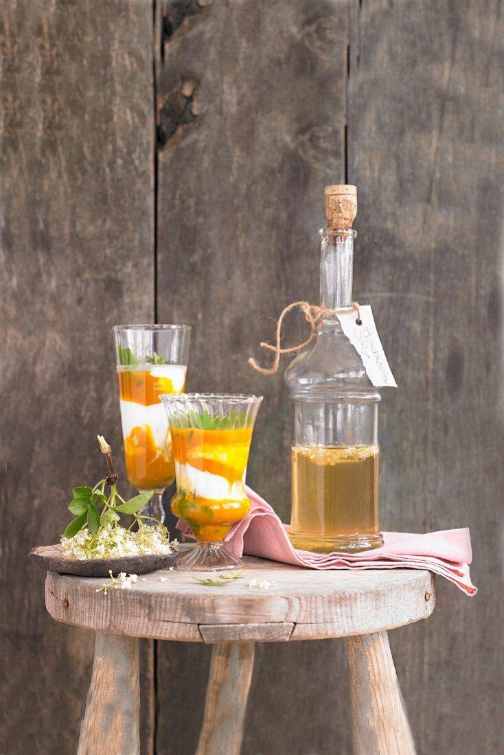 Elderflower and apricot lassi