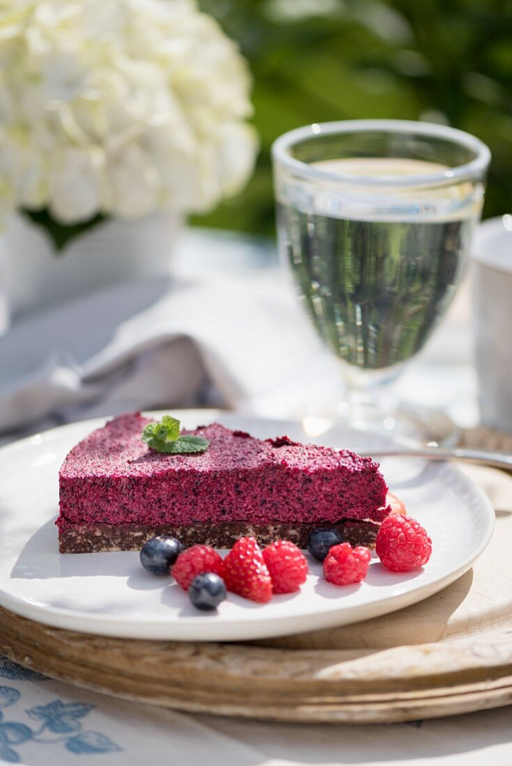 A slice of berry mousse tart
