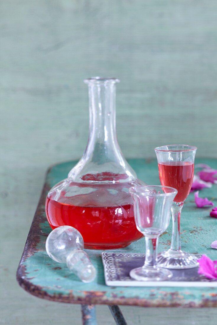 Homemade rose liqueur