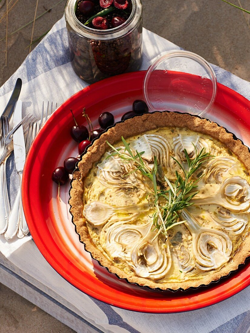 Spelt pie with fennel and coconut