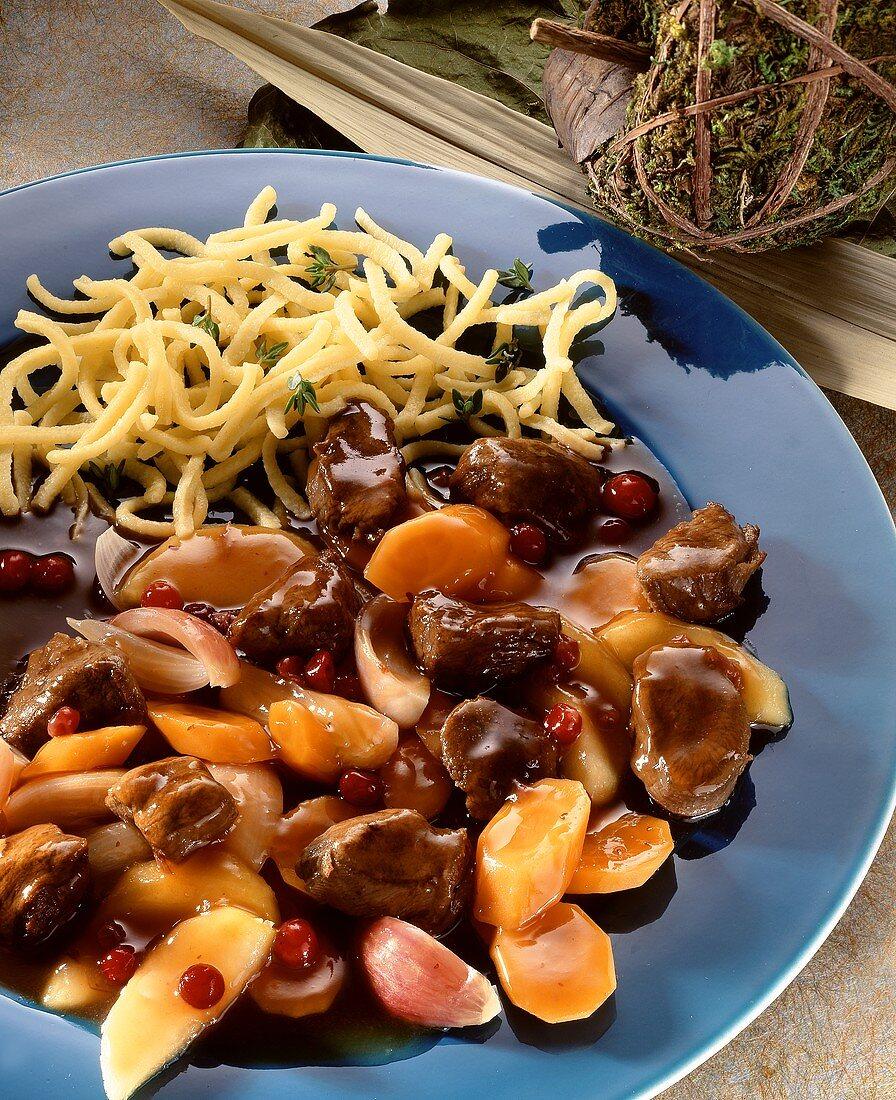 Sweet & sour venison goulash with home-made noodles (spaetzle)