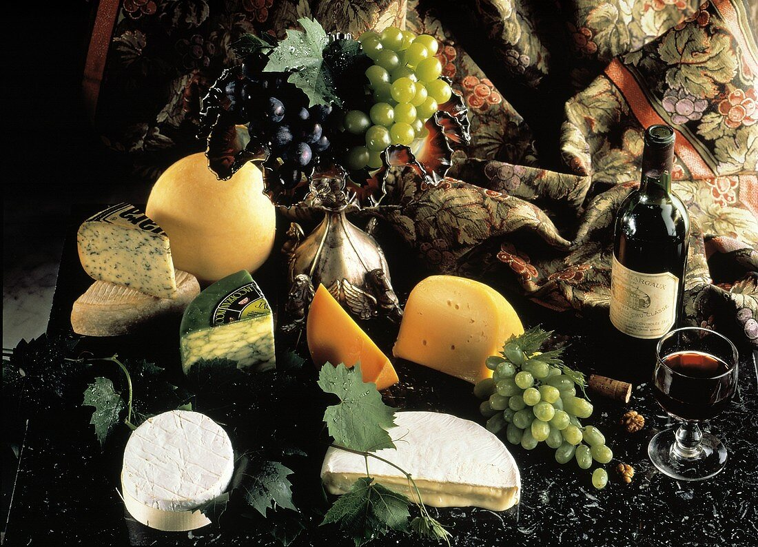 Cheese and Grapes; Wine Still Life