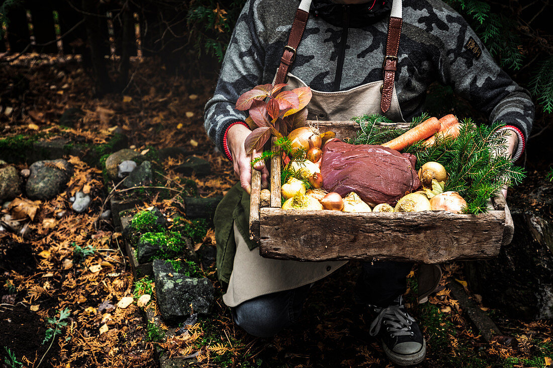 Raw moose meat with vegetables in wooden box