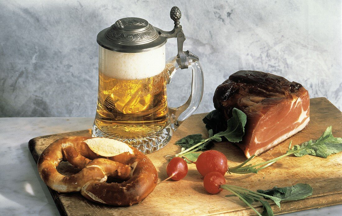 Beer and Pretzel; Radishes and Ham