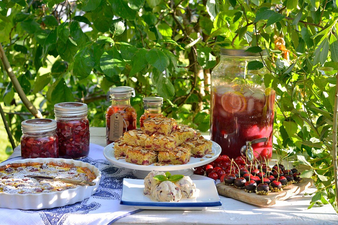 Summer cakes, desserts, and drinks with cherries