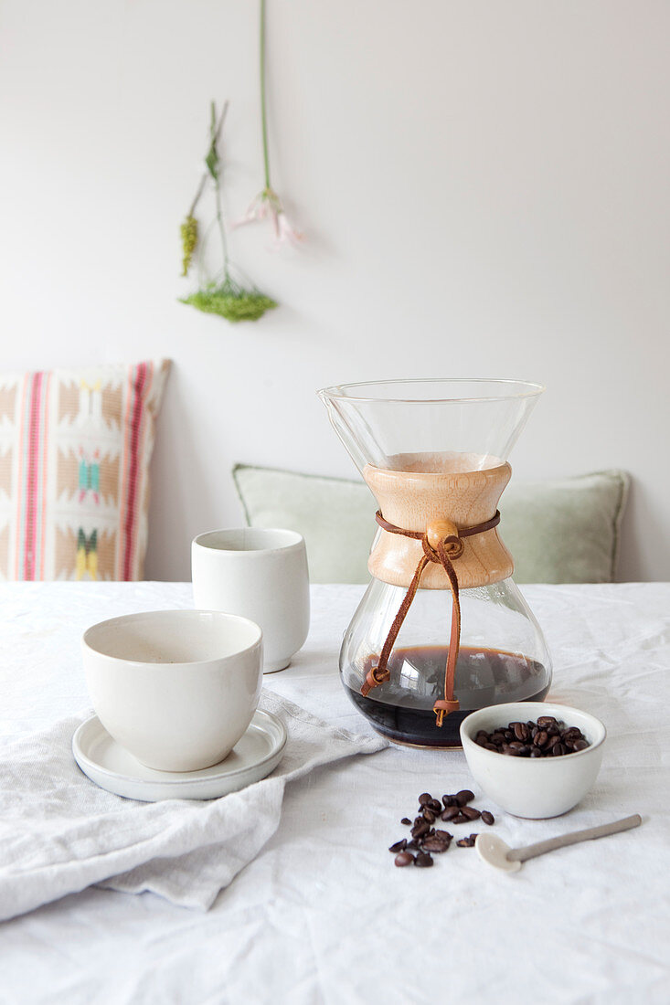 A Chemex coffee carafe for filter coffee