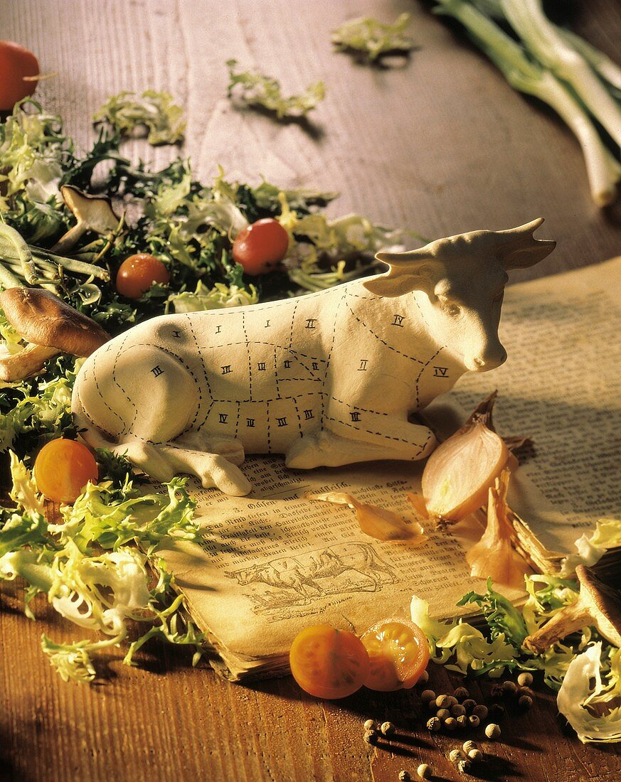 Cow Model with Marks for Cuts of Beef; Book; Salad