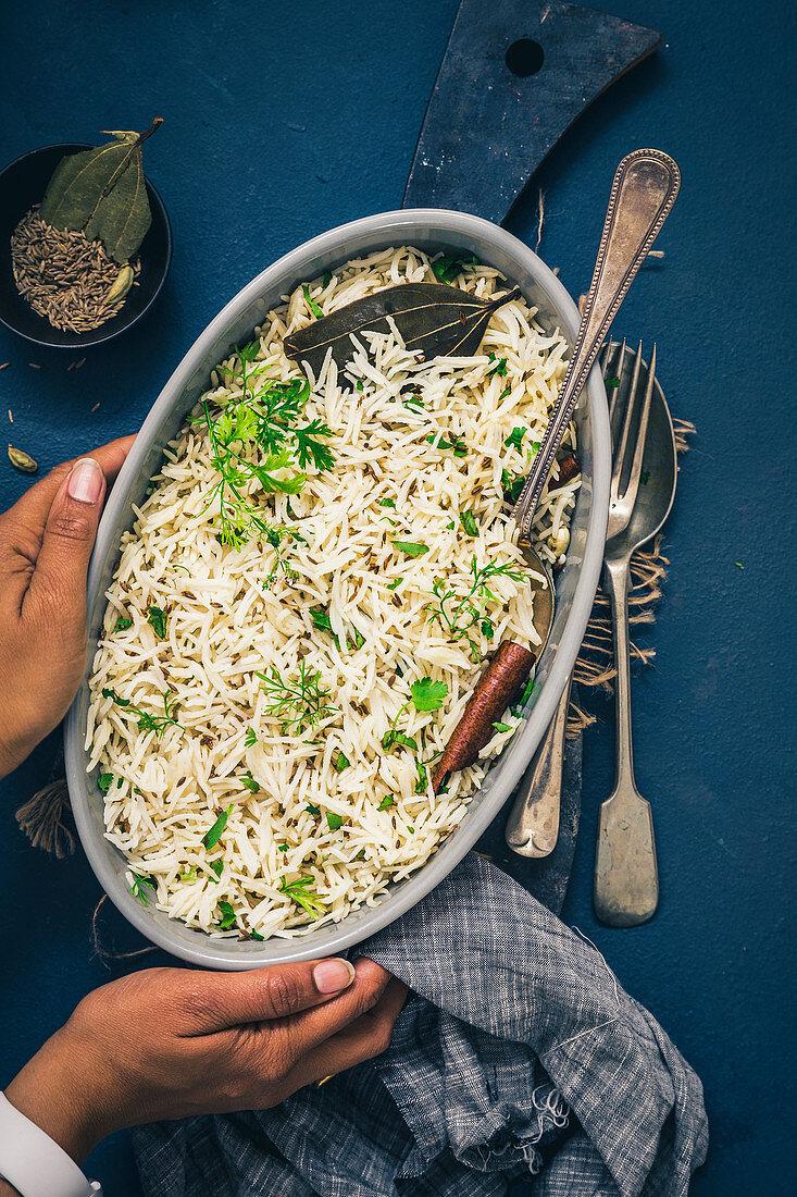 Jeera rice (rice dish with cumin, India)