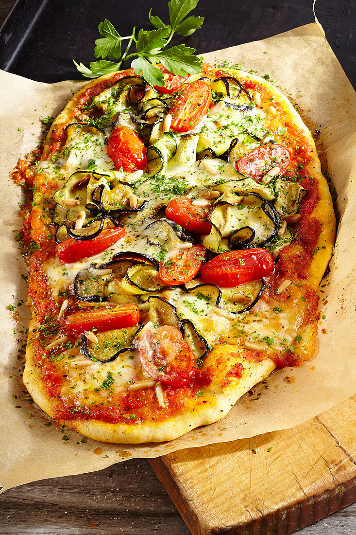 Pizza with eggplant and zucchini