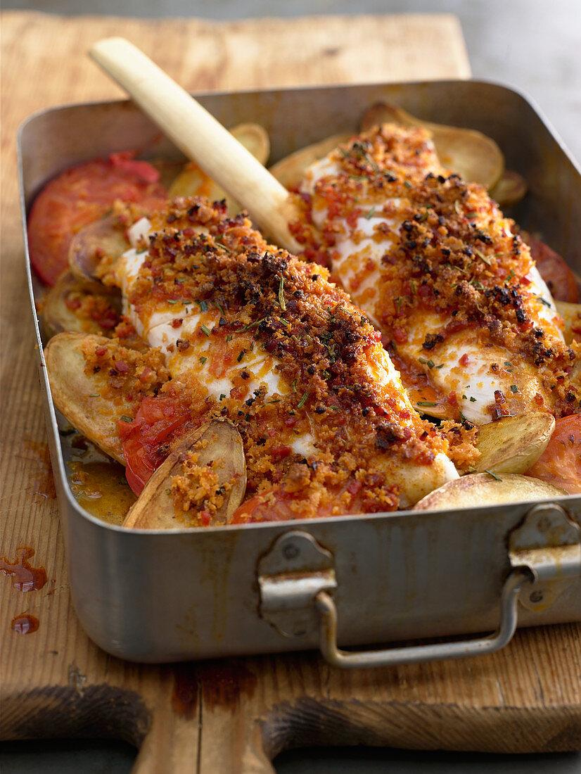 Redfish with chorizo breadcrumbs