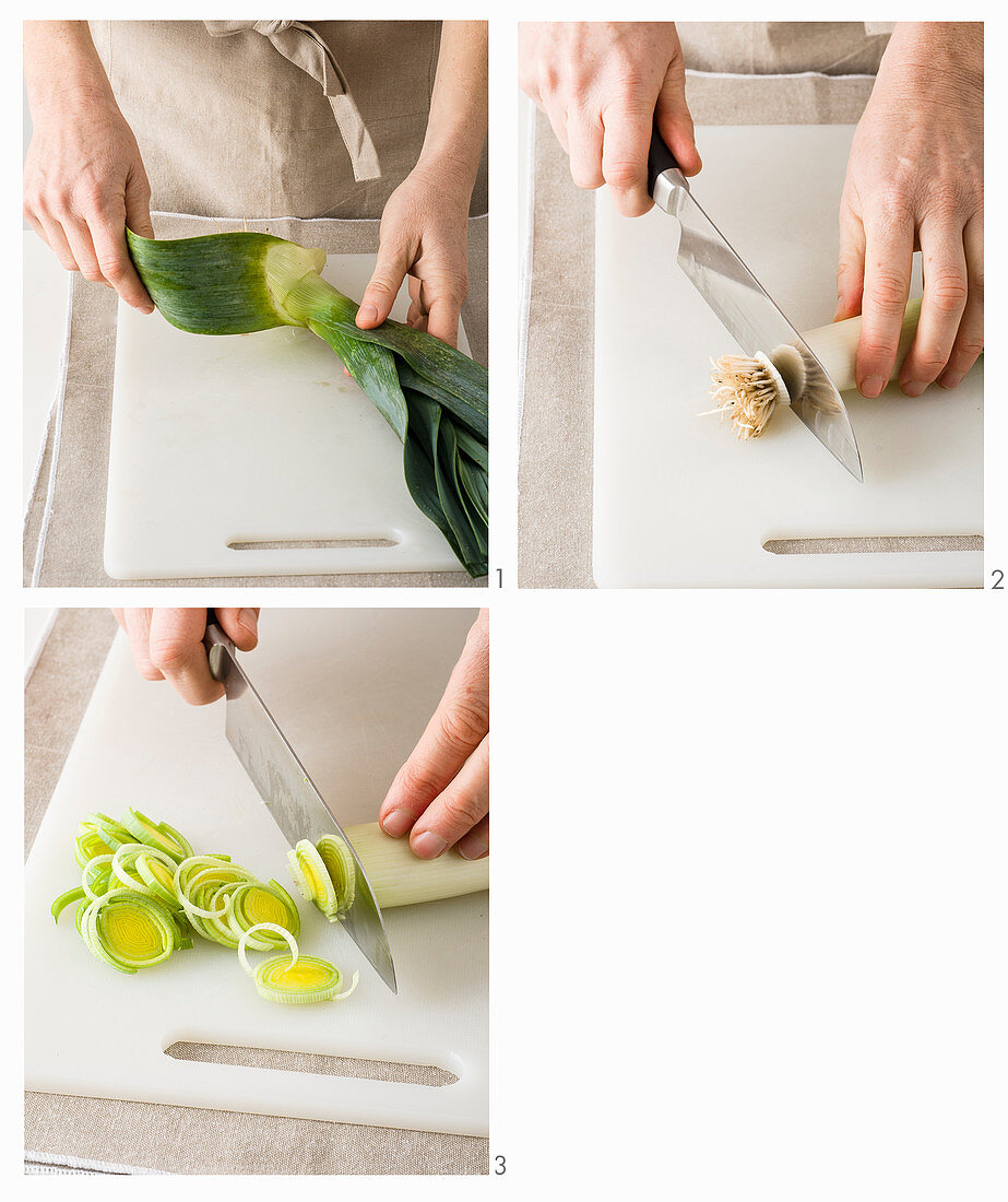 Leek being cleaned and sliced