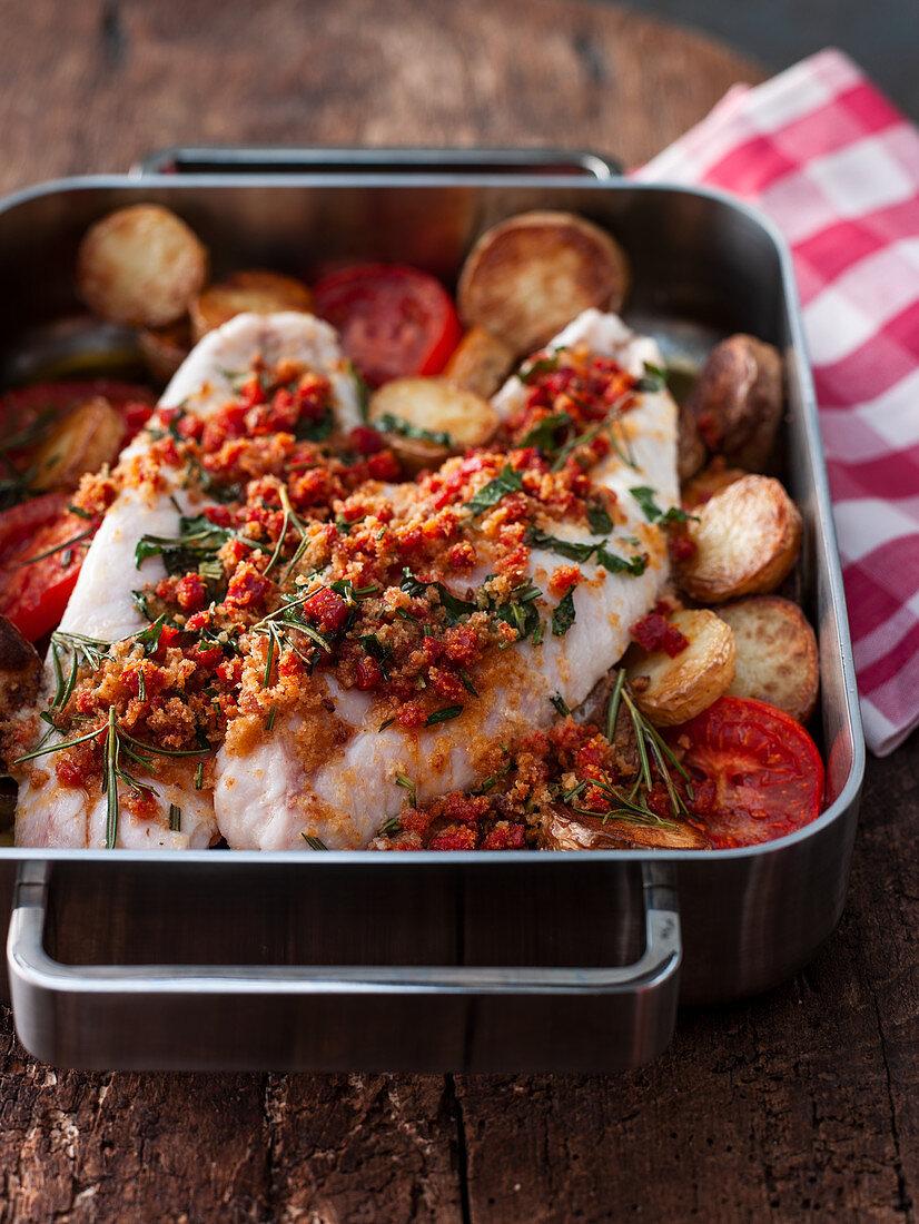 Rose fish with chorizo breadcrumbs