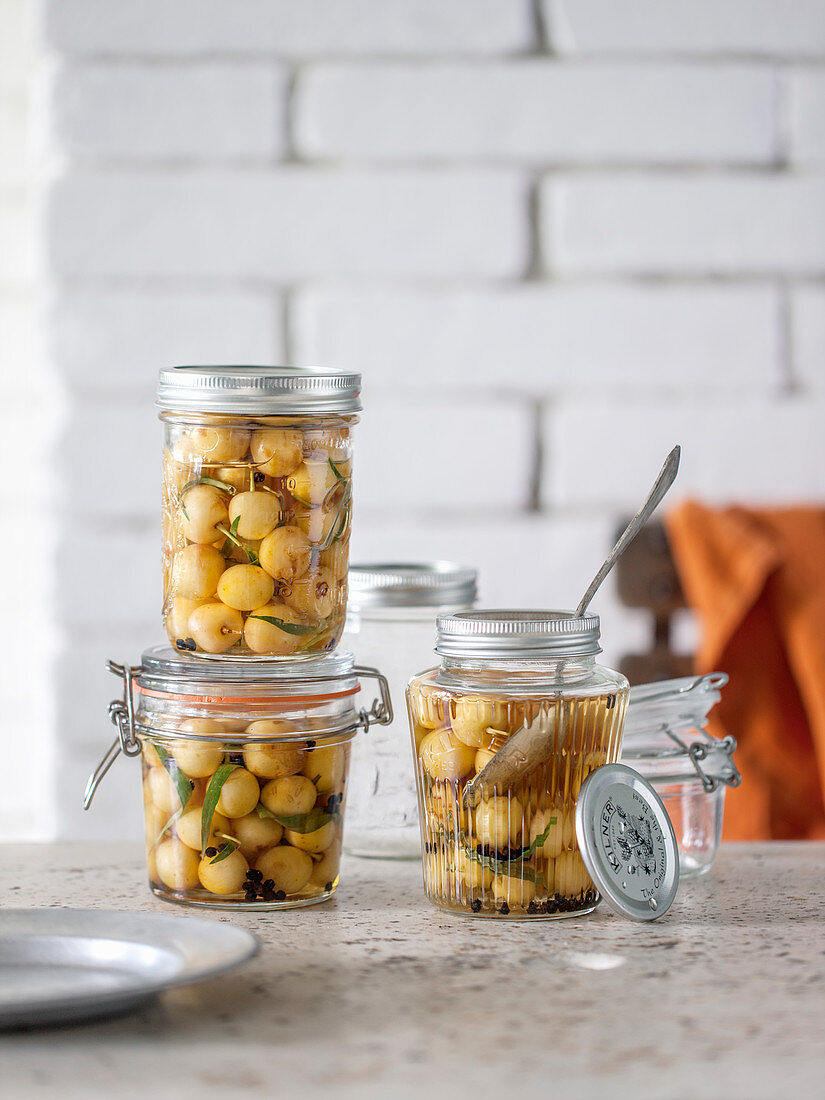 Pickled white cherries with tarragon