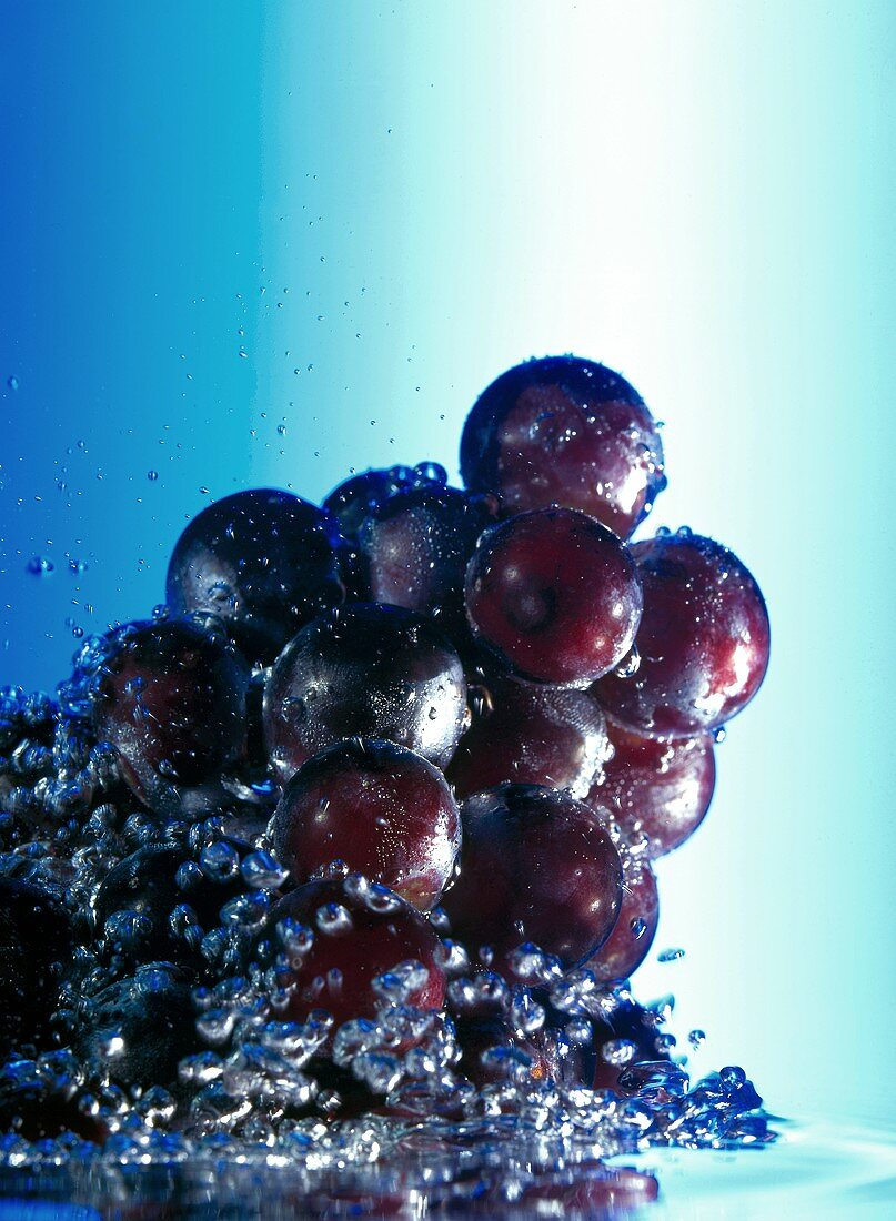Red Grapes in Water; Bubbles