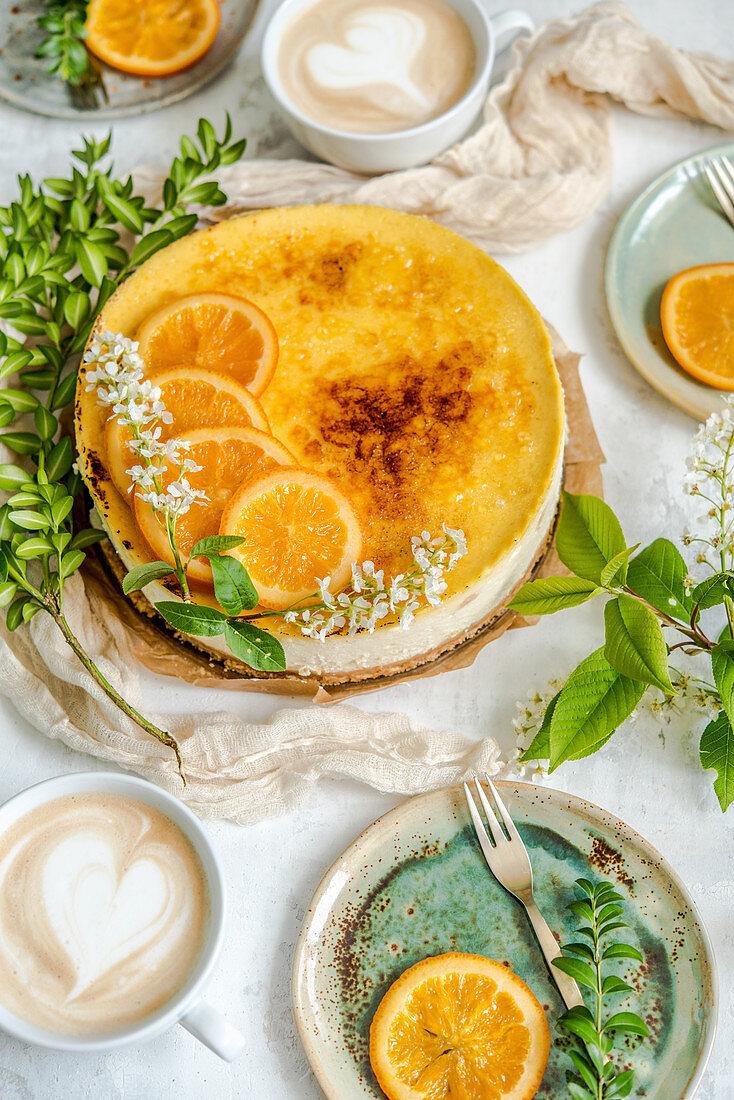 Orange cheesecake creme brulee, coffee latte art