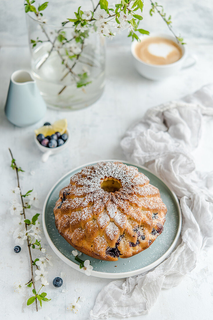 Easter cake with blueberries and lemon, sprinkled with powdered sugar, coffee on the background