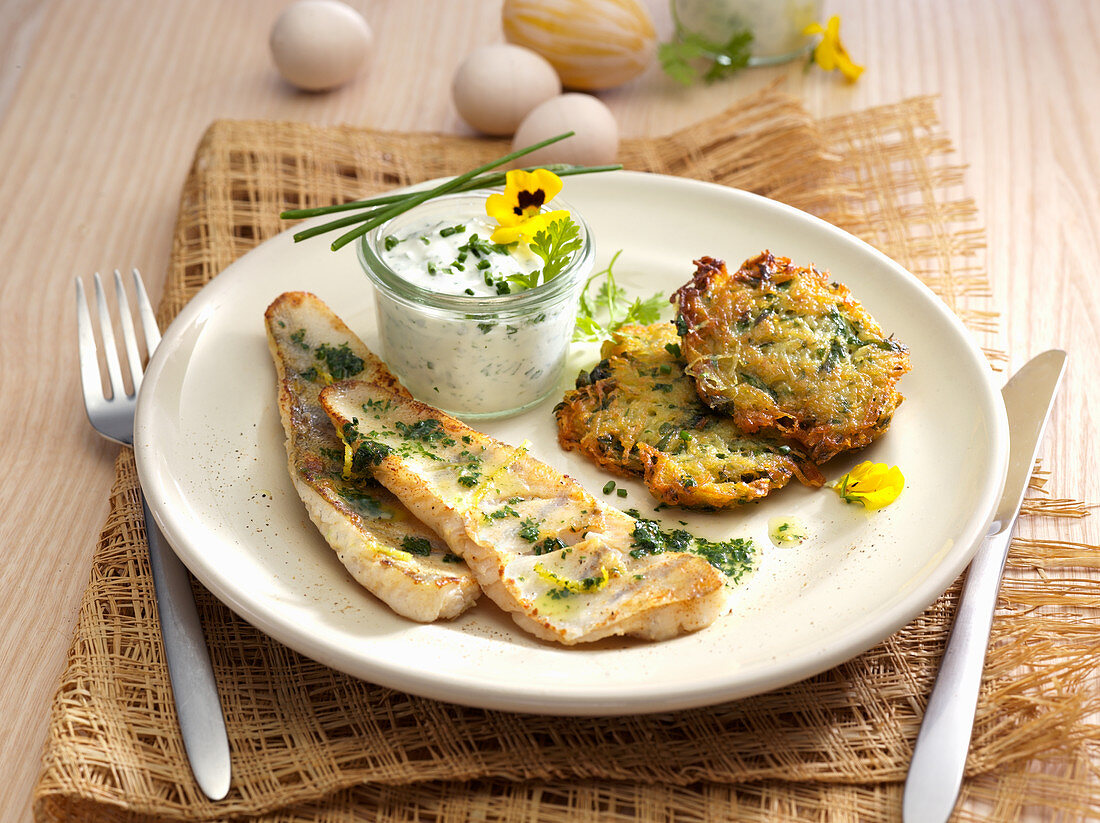 Crunchy zander with nettle fritters
