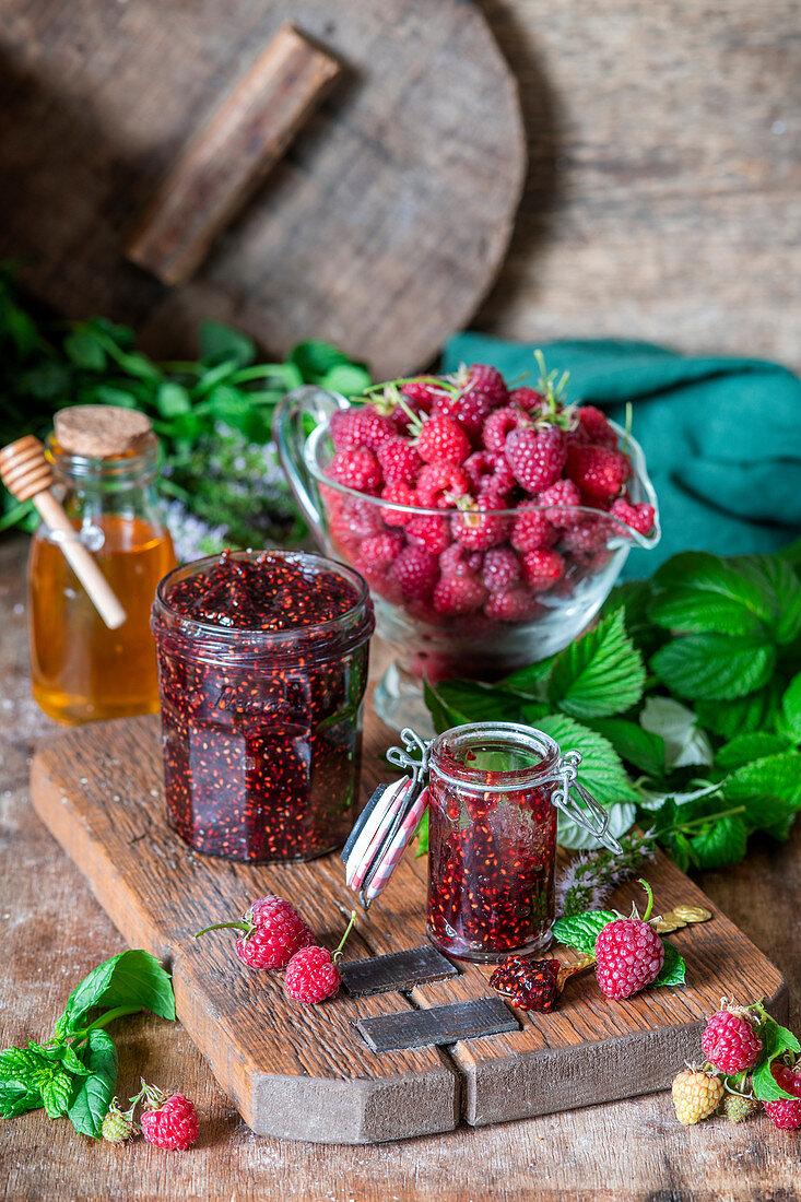 Raspberry mint jam with honey