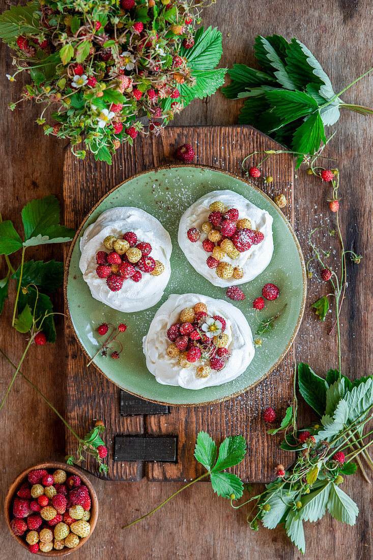 Wild strawberry mini pavlovas