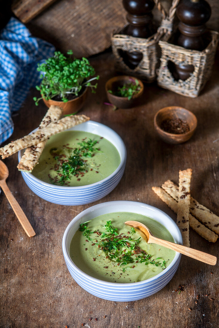 Green soup with micro greens