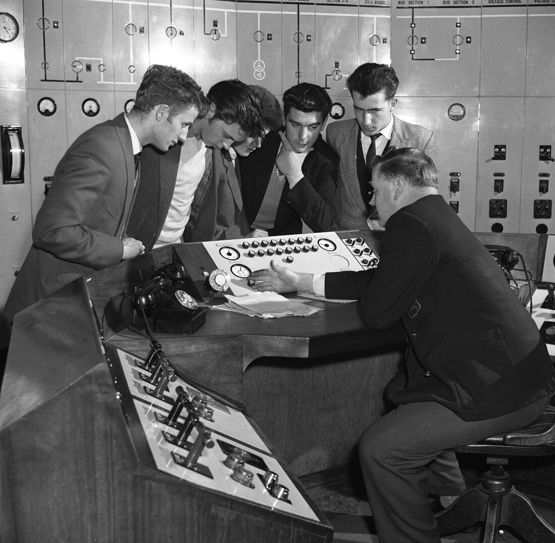 Students visiting Mexborough Power Station, 1960