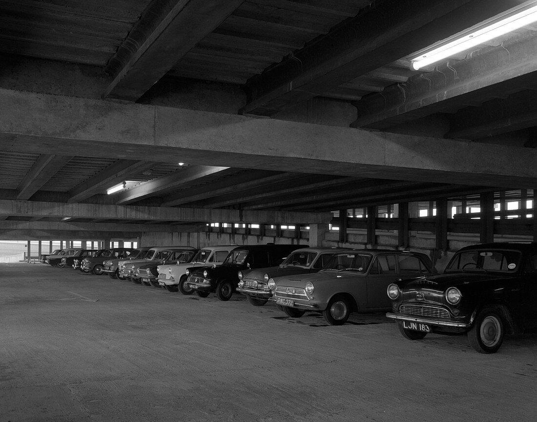 Doncaster North Bus Station car park, South Yorkshire, 1967
