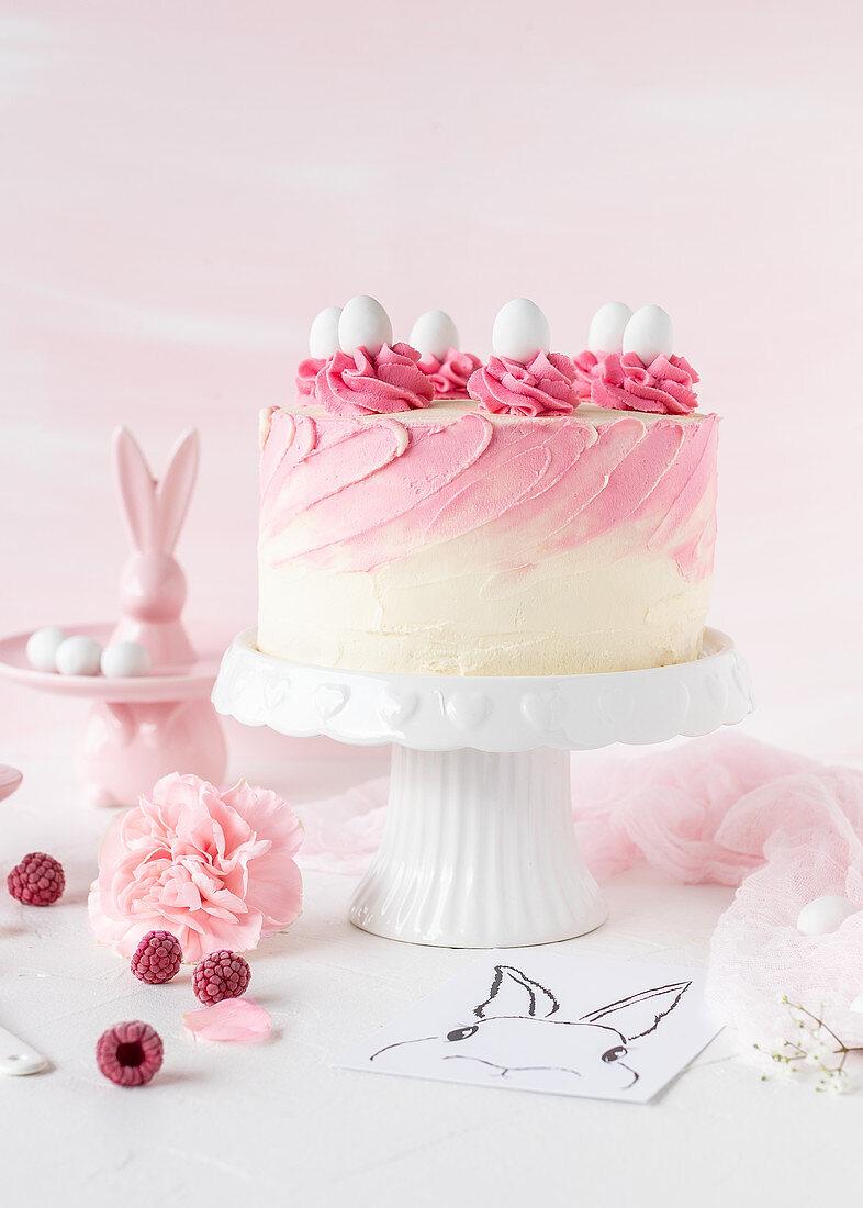 A raspberry and yoghurt Easter cake